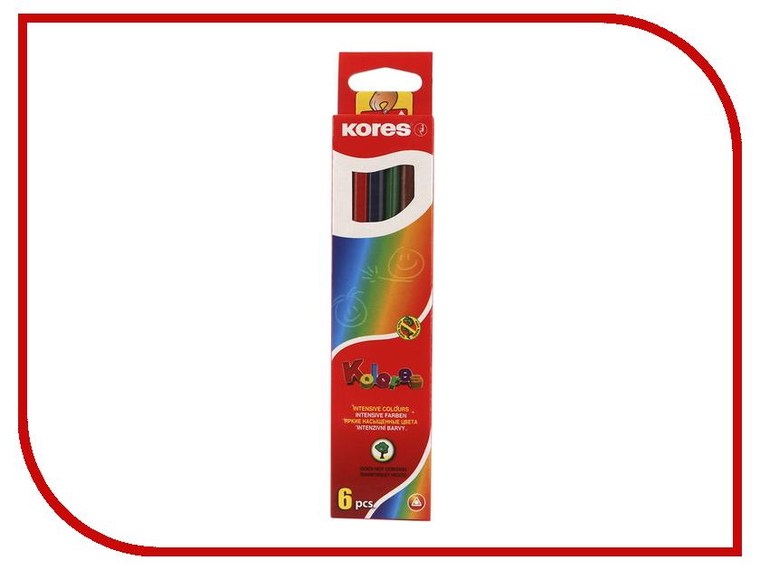 Карандаши цветные Kores 6 цветов 153052 цветные карандаши mattel barbie 6 цветов
