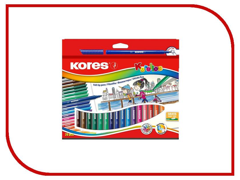 Фломастеры Kores 20 цветов 313359 маркер kores 1mm red 282355