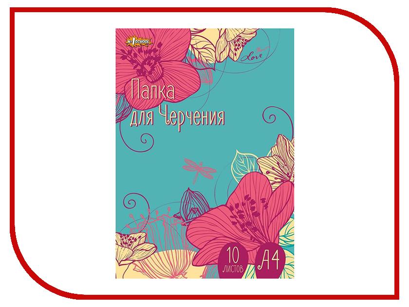 Папка для черчения №1 School Цветы А4 10 листов 526150 папка для черчения 1 school цветы а4 10 листов 526150