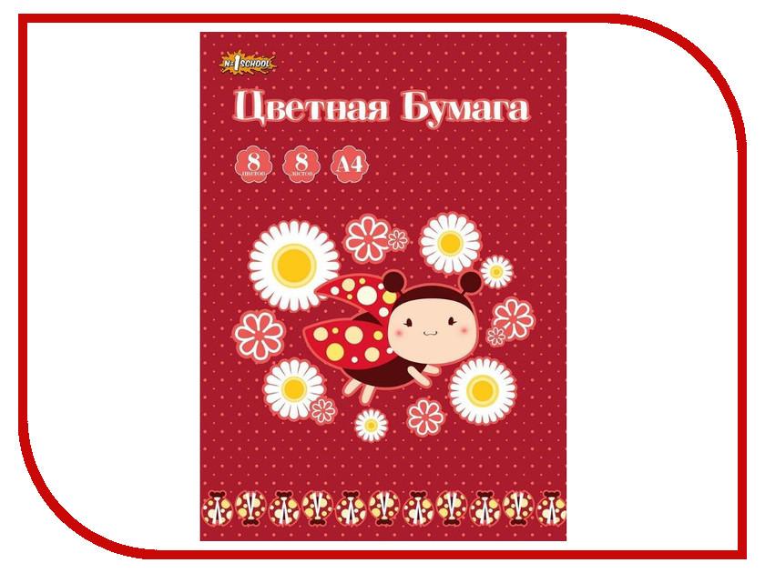 Цветная бумага №1 School Божья коровка А4 8 цветов 526146 рюкзак 1 school божья коровка 3 кармана ko 011920