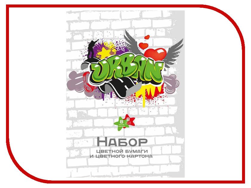 Набор цветной бумаги и картона №1 School Graffiti А4 16 листов 8 цветов 276770 24 colors kid crayon oil pastel drawing set count box round shape soft graffiti children artist school supplies starter kit