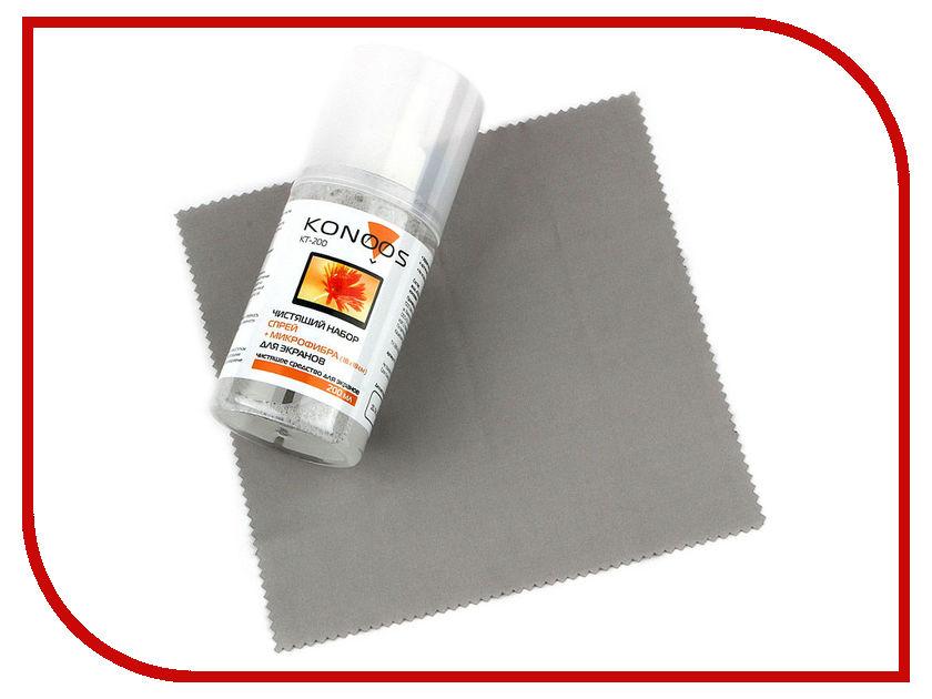 Аксессуар Konoos KT-200 Жидкость для экранов 200ml + салфетка из микрофибры 18x18cm очищающий комплекс для экранов всех типов cbr cs 0061 200 мл безворсовая салфетка из микрофибры cs 0061