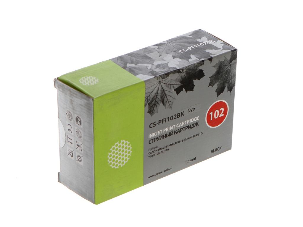 Картридж Cactus CS-PFI102BK Black 130ml для Canon IP iPF500/iPF600/iPF700/ MFP M40/iPF765/LP17/LP24