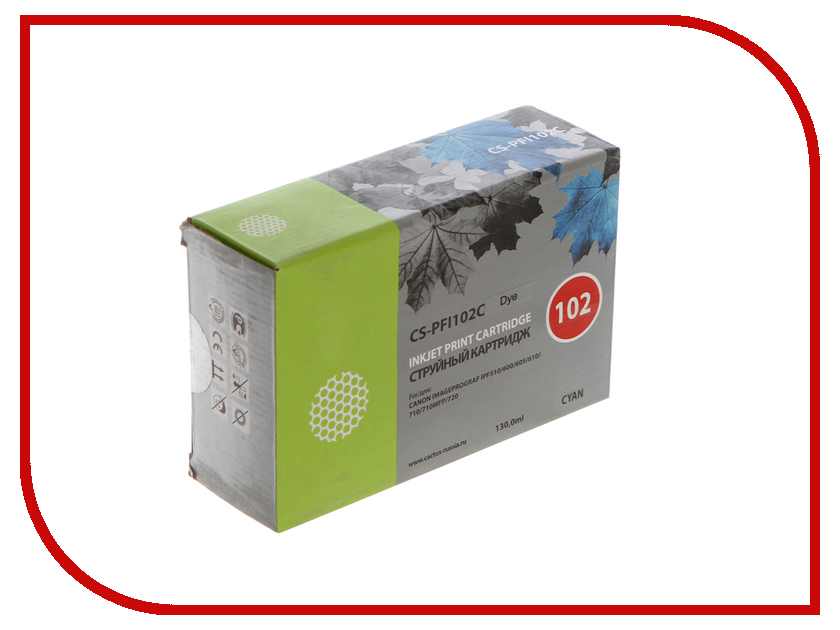 Картридж Cactus CS-PFI102C Cyan 130ml для Canon IP iPF500/iPF600/iPF700/ MFP M40/iPF765/LP17/LP24 картридж cactus cs pfi102bk black 130ml для canon ip ipf500 ipf600 ipf700 mfp m40 ipf765 lp17 lp24
