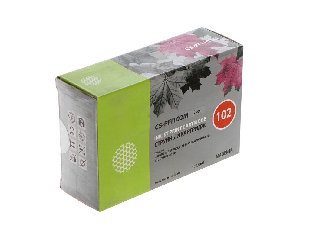Картридж Cactus CS-PFI102M Magenta 130ml для Canon IP iPF500/iPF600/iPF700/ MFP M40/iPF765/LP17/LP24