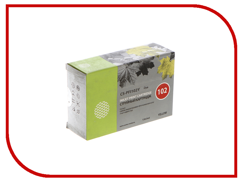 Картридж Cactus CS-PFI102Y Yellow 130ml для Canon IP iPF500/iPF600/iPF700/ MFP M40/iPF765/LP17/LP24 картридж cactus cs pfi102bk black 130ml для canon ip ipf500 ipf600 ipf700 mfp m40 ipf765 lp17 lp24