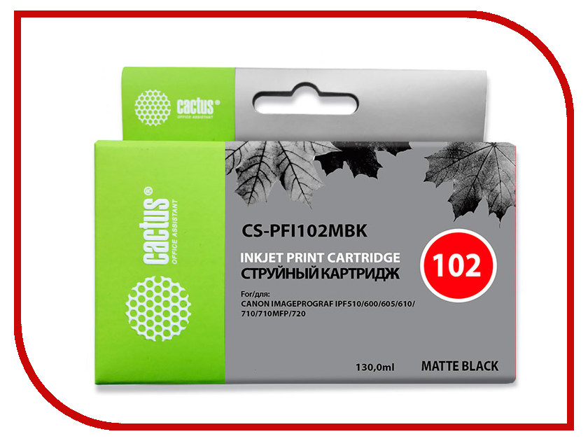 Картридж Cactus CS-PFI102MBK Black Matte 130ml для Canon IP iPF500/iPF600/iPF700/ MFP M40/iPF765/LP17/LP24
