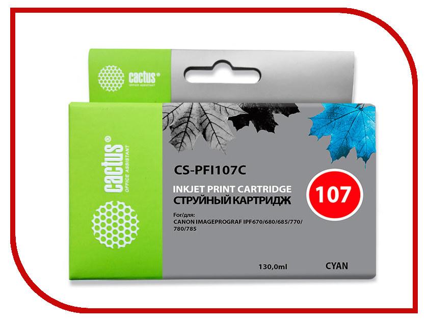 Картридж Cactus CS-PFI107C Cyan 130ml для Canon IP iPF670/iPF680/iPF685/iPF770/iPF780/iPF785 for canon pfi 107 disposable cartridge chip for canon ipf680 ipf685 ipf770 ipf780 ipf785 printer
