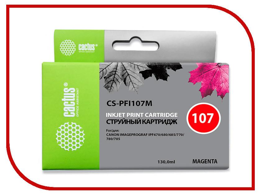 Картридж Cactus CS-PFI107M Magenta 130ml для Canon IP iPF670/iPF680/iPF685/iPF770/iPF780/iPF785 картридж струйный cactus cs pfi107bk черный 130мл для canon ip ipf670 ipf680 ipf685 ipf770 ipf780 ipf785