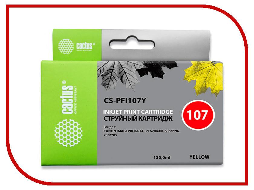 Картридж Cactus CS-PFI107Y Yellow 130ml для Canon IP iPF670/iPF680/iPF685/iPF770/iPF780/iPF785 картридж струйный cactus cs pfi107bk черный 130мл для canon ip ipf670 ipf680 ipf685 ipf770 ipf780 ipf785