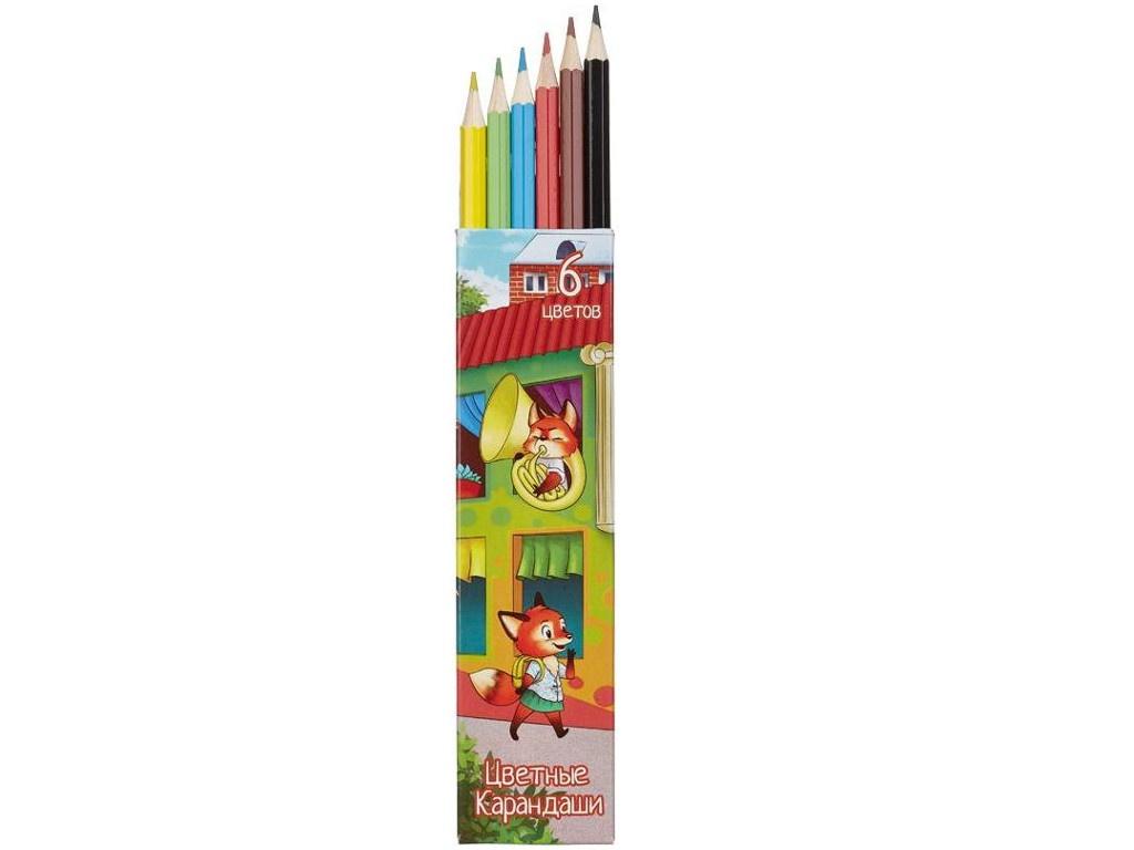 Карандаши цветные №1 School Лисята 6 цветов 656449