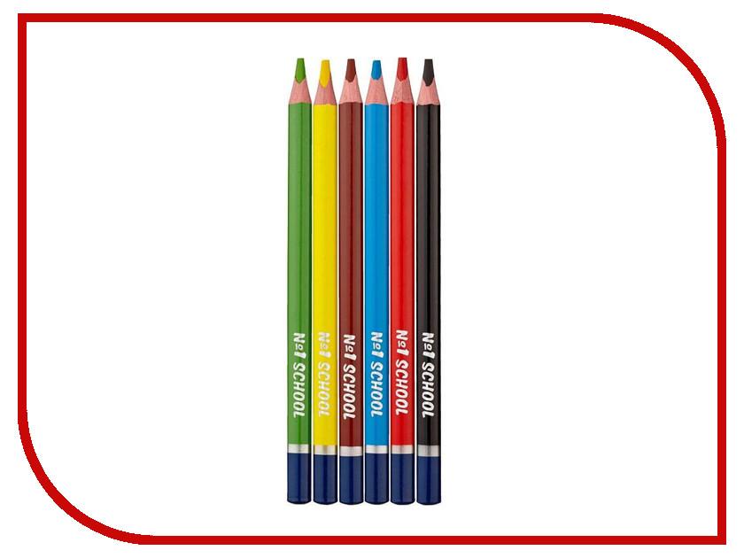 Карандаши цветные №1 School Морские друзья Jumbo 6 цветов 406757 карандаши цветные трехгранные noris club jumbo 6 цветов 128nc6