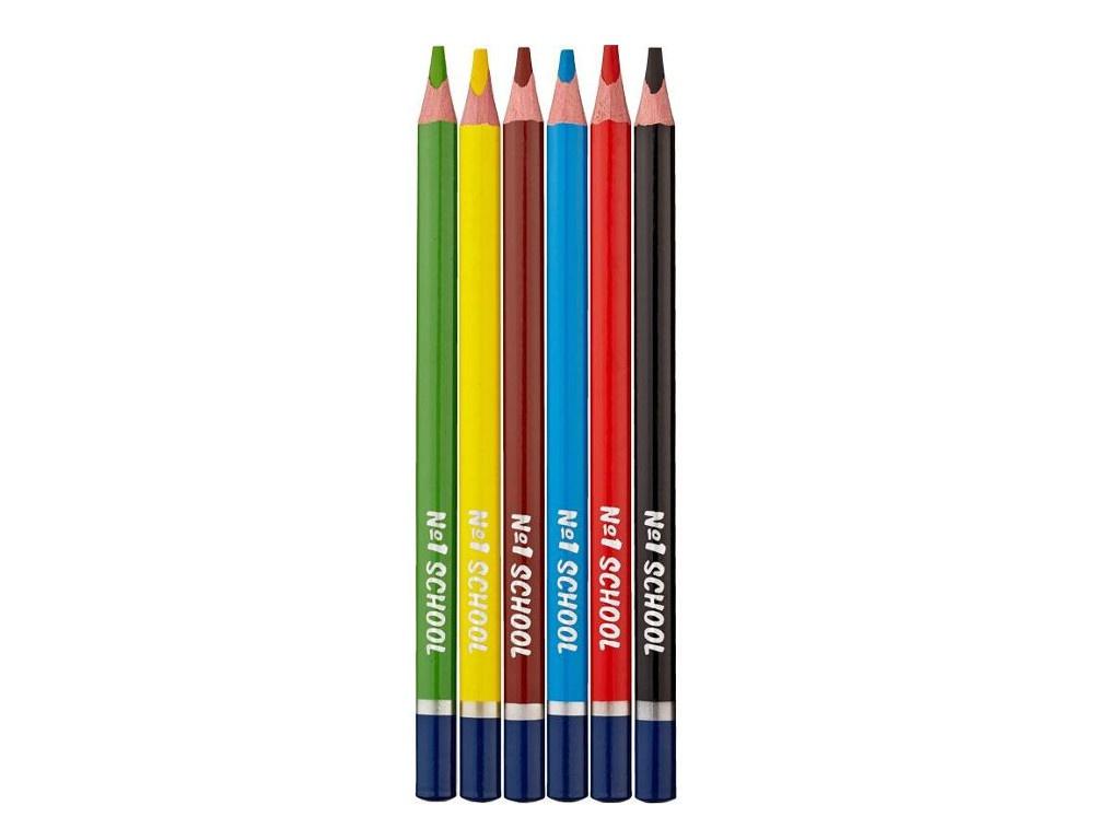 Карандаши цветные №1 School Морские друзья Jumbo 6 цветов 406757