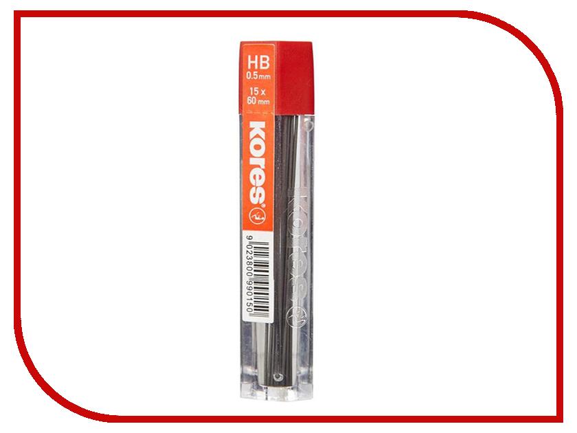 Стержень микрографический Kores НВ 0.5mm 15шт 614072 маркер kores 1mm red 282355