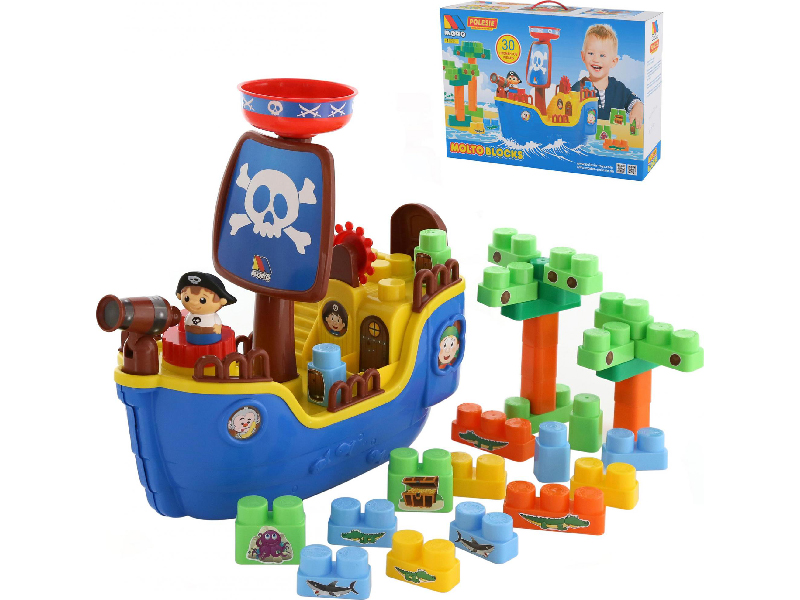 Игрушка ПолесьеПиратский корабль + конструктор 62246 игрушка полесье корабль чайка 36964