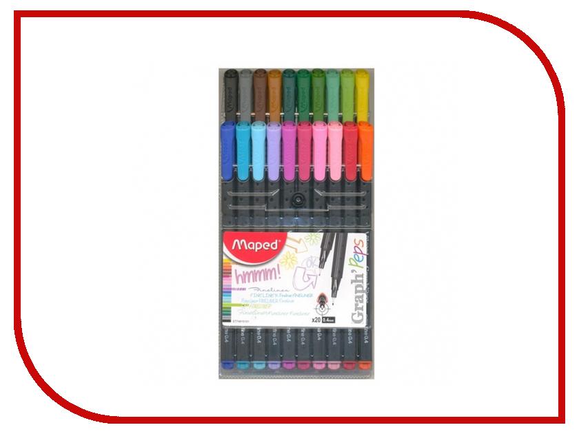 Ручка капиллярная Maped Graph Peps набор 20 цветов 749151 maped карандаши цветные color peps треугольные 12 цветов maped