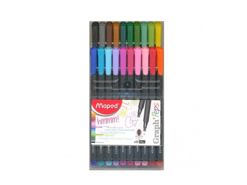 Ручка капиллярная Maped Graph Peps набор 20 цветов 749151 maped набор капиллярных ручек graph pep s duo 10 штук 20 цветов 0 4 мм maped