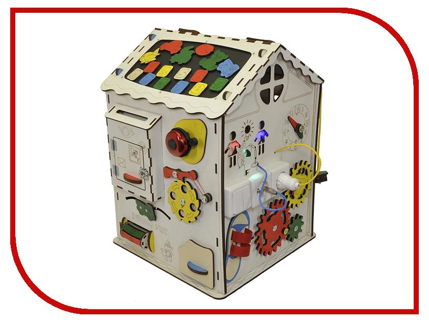 Бизиборд Iwoodplay Домик большой с электрикой 35x35x50cm кукольный домик iwoodplay 26x45x32cm с эркерами igkd 02 01