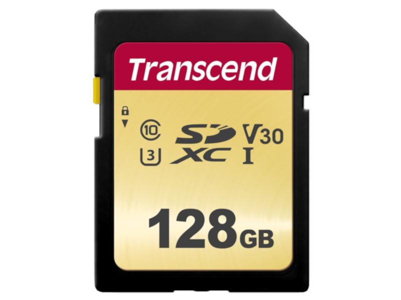 Карта памяти 128Gb - Transcend 500S SDXC I Clase 10 UHS-I U3 V30 TS128GSDC500S