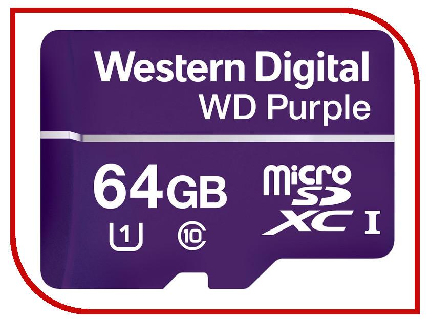 Карта памяти 64Gb - Western Digital Purple microSDXC Class 10 UHS U1 WDD064G1P0A
