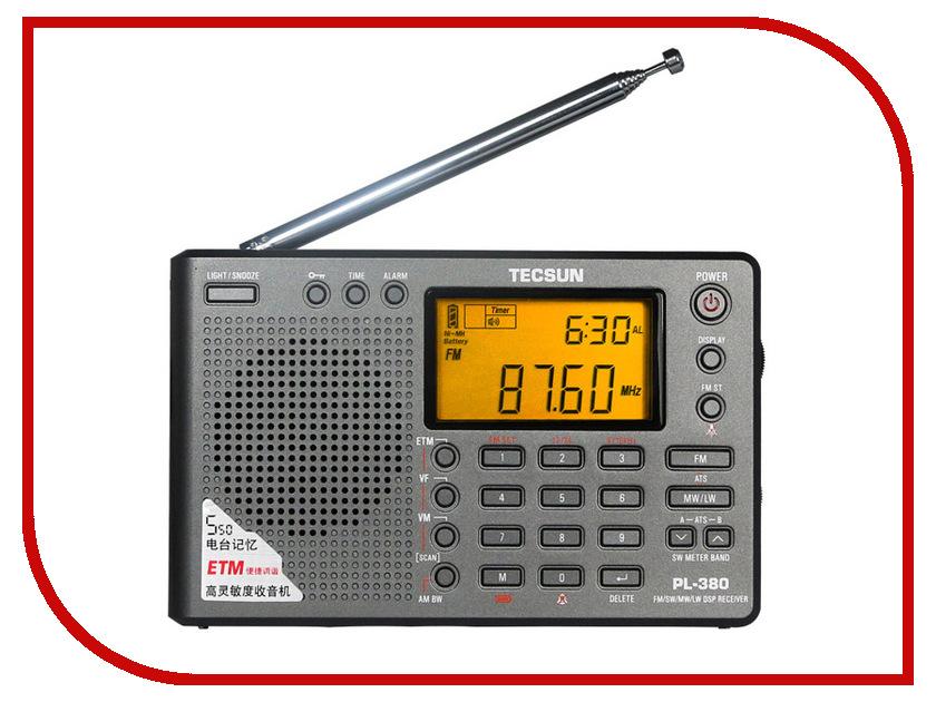 Радиоприемник Tecsun PL-380 Grey tecsun pl 398mp portable radio 2 2 full band digital tuning stereo fm am sw radio receiver mp3 player tecsun