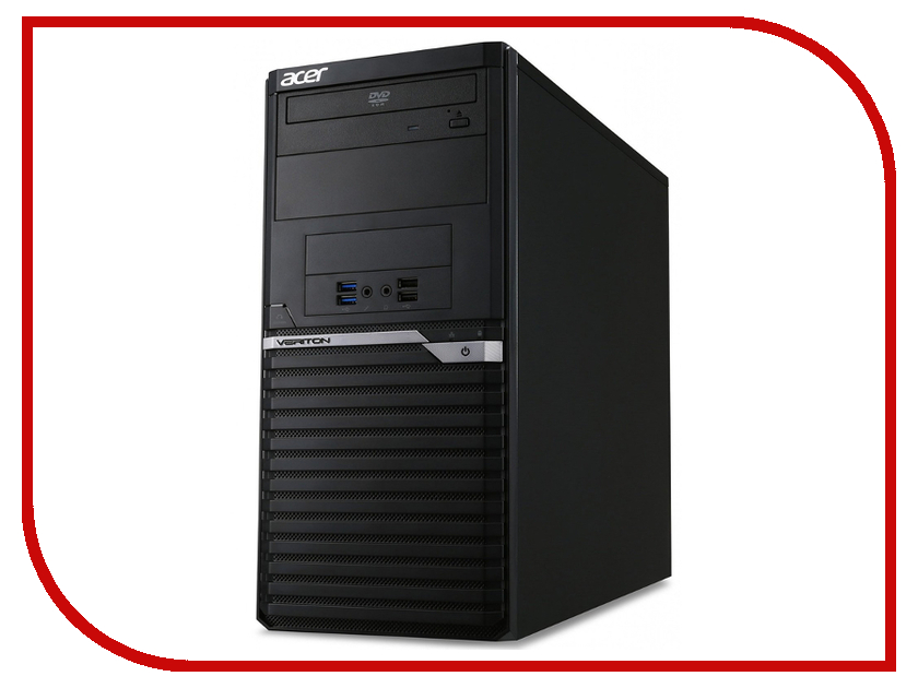 Настольный компьютер Acer Veriton M2640G MT Black DT.VPPER.142 (Intel Core i3-7100 3.9 GHz/4096Mb/500Gb/DVD-RW/Intel HD Graphics/LAN/DOS) fiscal end aluminum fanless embedded computer with i3 3217u 6com 4g ram onboard 2 intel lan support wake on lan dual 24bit lvds
