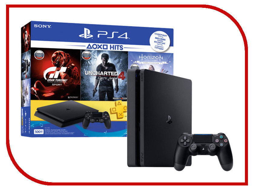 Игровая приставка Sony PlayStation 4 500Gb Slim CUH-2108A + HZD + Gran Tourismo + UC4 + PSN игровая приставка sony playstation 4 1tb slim cuh 2108b gow