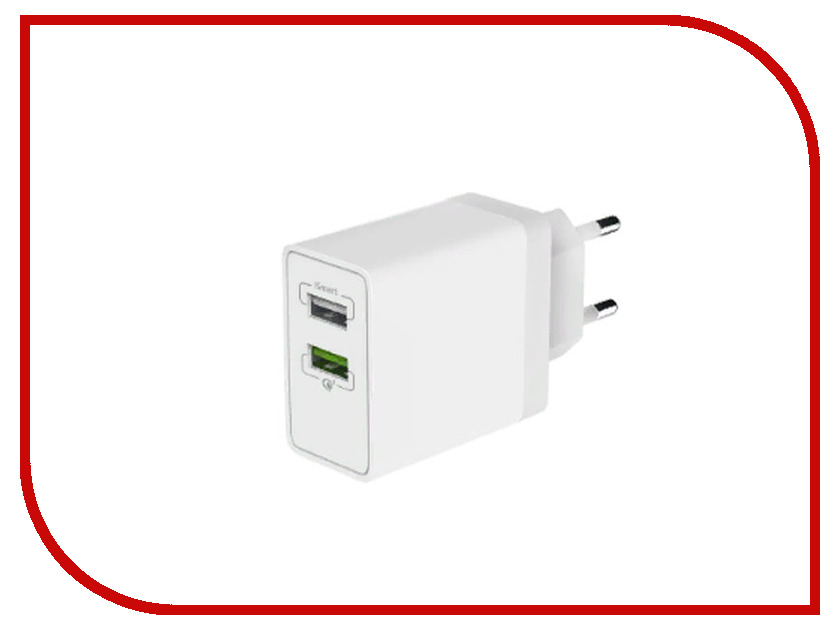 Зарядное устройство Olmio 2xUSB Quick Charge 3.0 30W ПР038465 беспроводное зарядное устройство partner olmio quick charge 10w microusb черный пр038528