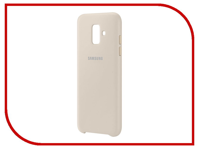 Аксессуар Чехол Samsung Galaxy A6 2018 Dual Layer Cover Gold EF-PA600CFEGRU аксессуар чехол книжка samsung galaxy a6 plus 2018 wallet cover gold ef wa605cfegru