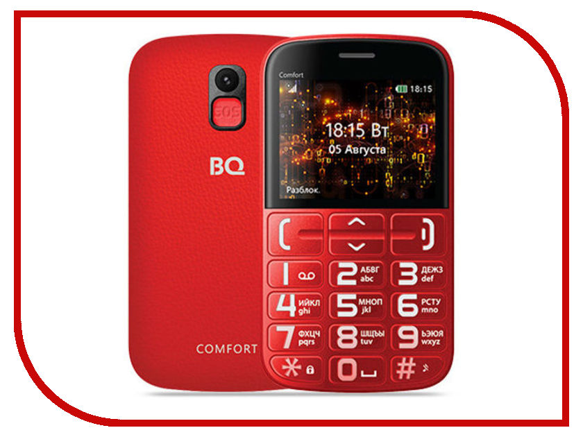 Сотовый телефон BQ 2441 Comfort Red-Black bq 2441 comfort black silver мобильный телефон