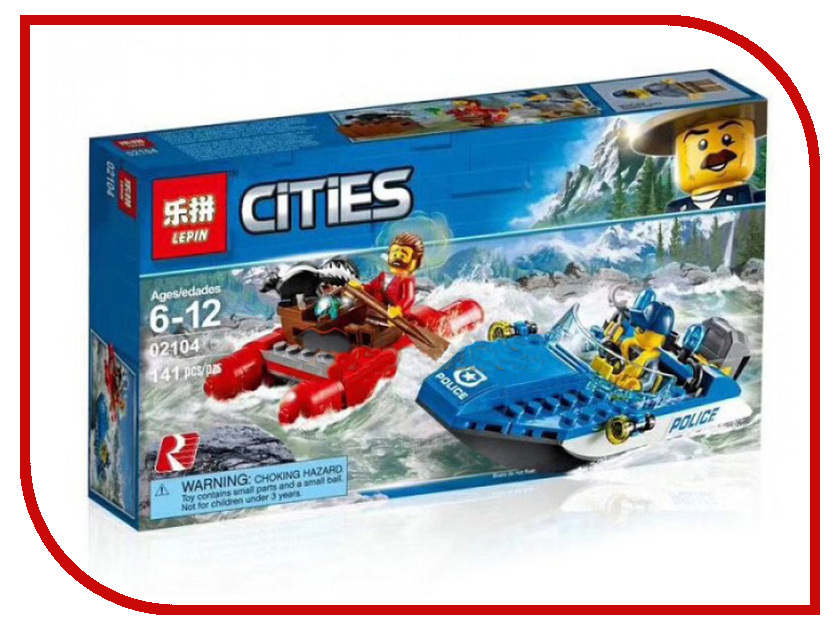Конструктор Lepin Cities Погоня по горной реке 141 дет. 02104 конструктор lepin cities рыболовный катер 159 дет 02028