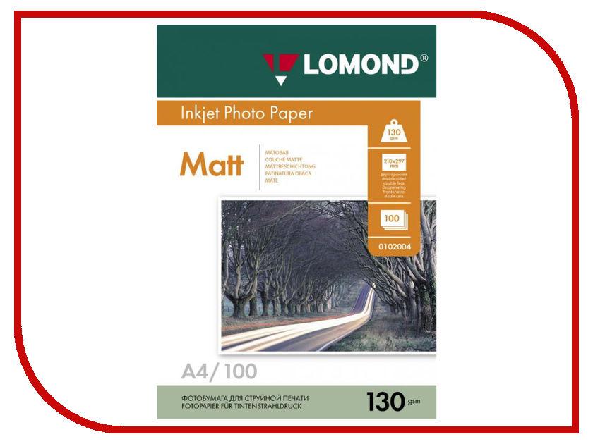 Фотобумага Lomond A4 130g/m2 матовая 100 листов 0102004 фотобумага lomond 0808431 140g m2 a4 термотрансферная флюорисцентная 10 листов