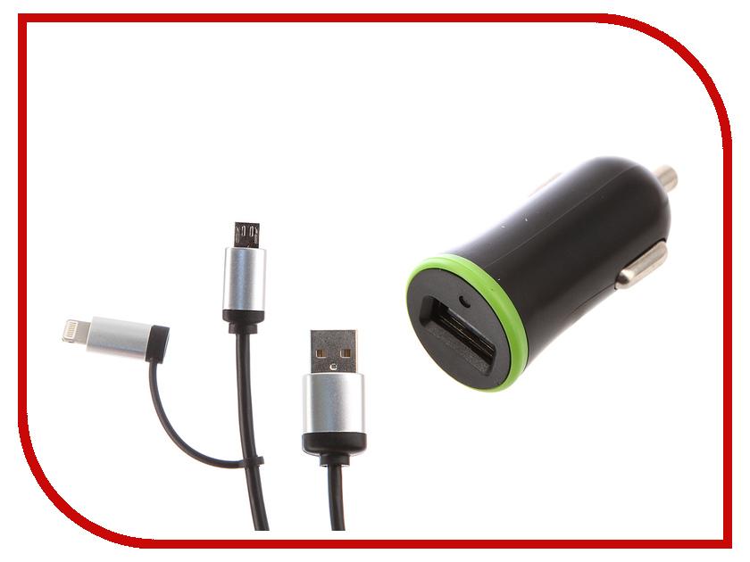 Зарядное устройство DF AutoTor-01 1xUSB 2.1A Кабель MicroUSB/Lightning кабель lightning 1м wiiix круглый cb120 u8 10b
