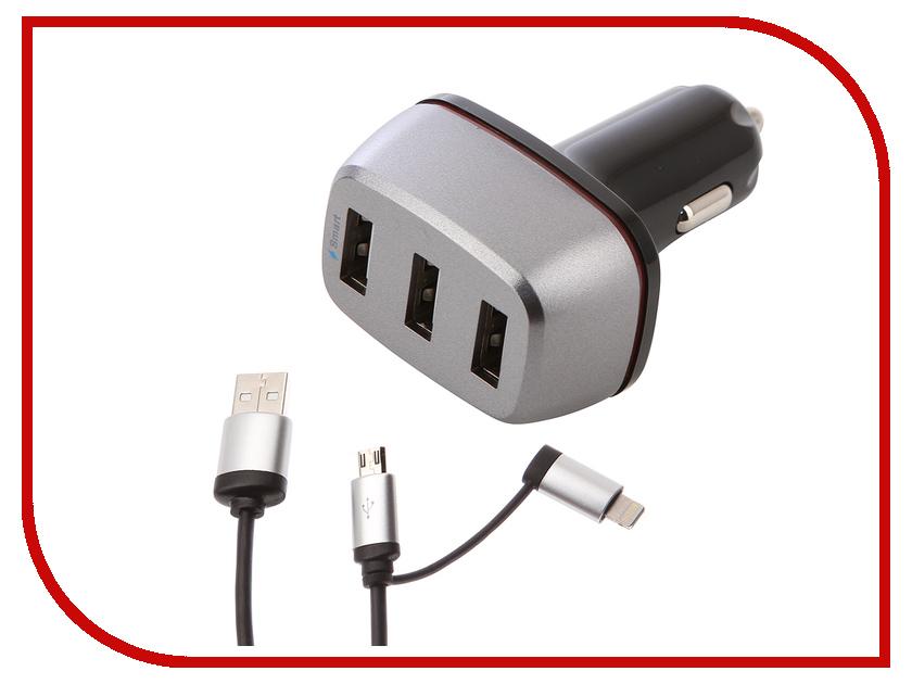 Зарядное устройство DF AutoTor-05 3xUSB 5.1A Smart Charge + Кабель MicroUSB/Lightning кабель lightning 1м wiiix круглый cb120 u8 10b