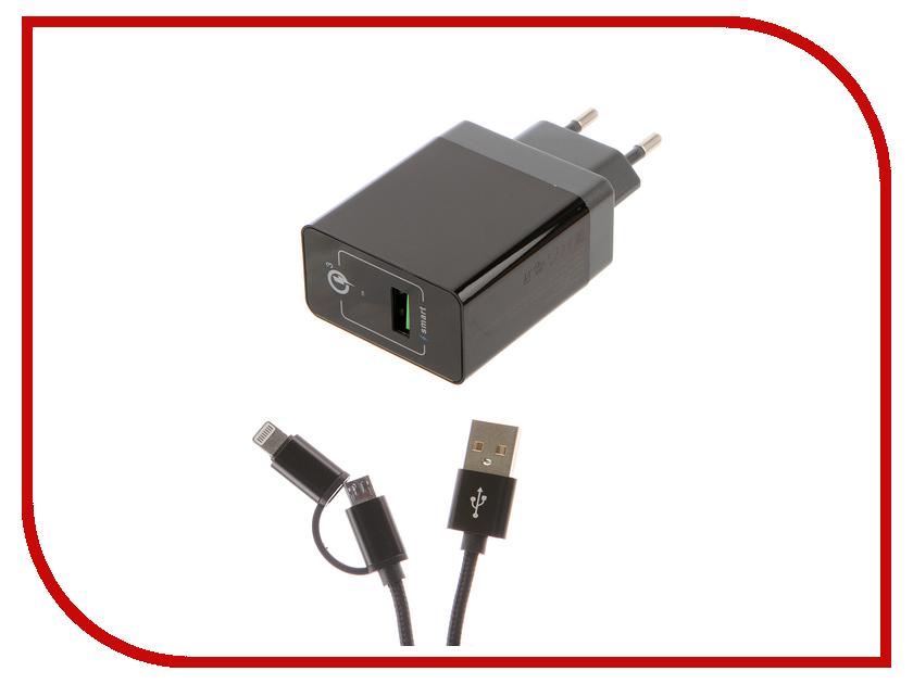 Зарядное устройство DF Tor-01 1xUSB 1.5-3A QC 3.0 Кабель MicroUSB/Lightning зарядное устройство df tor 02 1xusb 1 5 3a qc 3 0 кабель type c