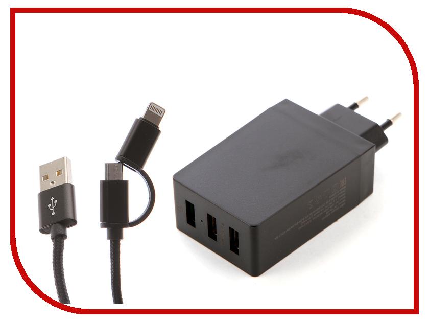 Зарядное устройство DF Tor-05 3xUSB QC 3.0 Smart Charge + Кабель MicroUSB/Lightning зарядное устройство df tor 02 1xusb 1 5 3a qc 3 0 кабель type c