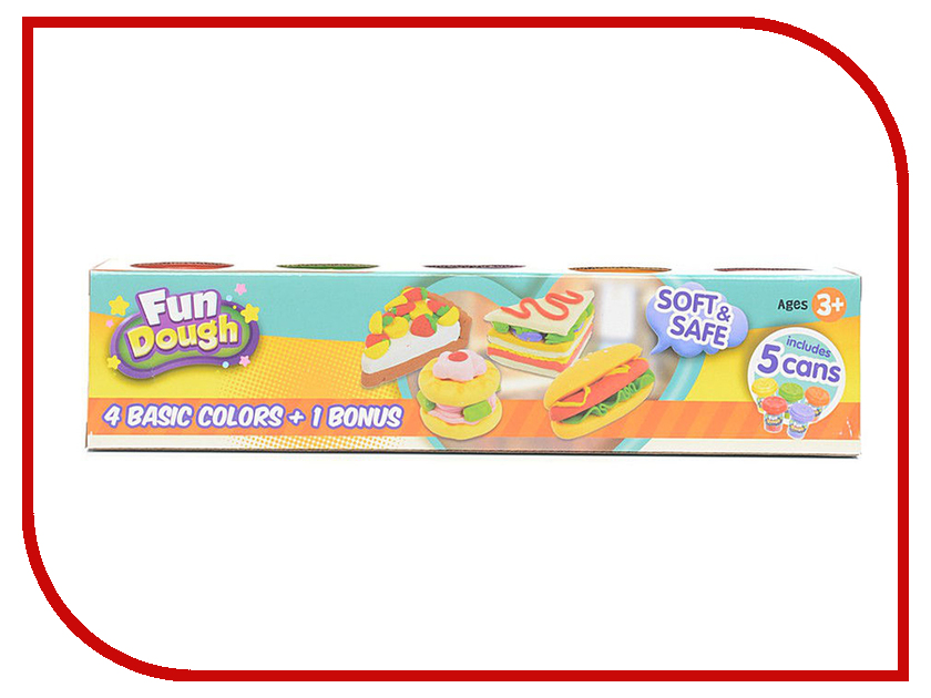 Набор для лепки Toy Target Набор пластилина 4 цвета + 1 бонус 88005 всё для лепки fun dough набор пластилина 4 банки 1 бонус