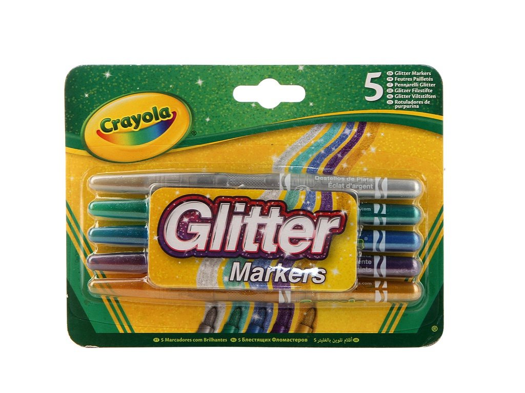Блестящие фломастеры Crayola 5 цветов 58-8645 фломастеры crayola 12 цветов 58 8329