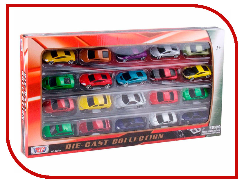 Игрушка Motormax Набор машинок Die Cast 20шт 76069 1 18 scale children brand miniature 300slr uhlenhaut coup vintage classic die cast cars styling metal model toys gifts for boys