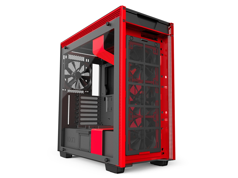 Корпус NZXT H700i Black-Red CA-H700W-BR корпус microatx miditower nzxt h400i smart ca h400w br black red