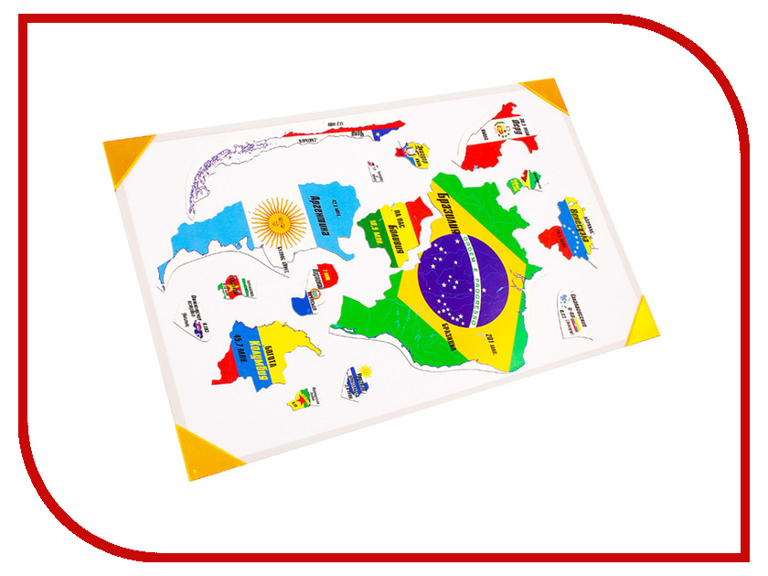Пазл Геомагнит Южная Америка на доске 32х51cm 1037 атласы и карты геомагнит магнитный пазл южная америка 16 элементов