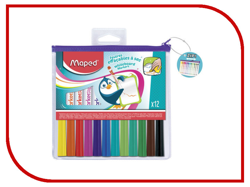 Маркер Maped Marker Peps 1.5mm набор 12 цветов 741817 maped карандаши цветные color peps треугольные 12 цветов maped