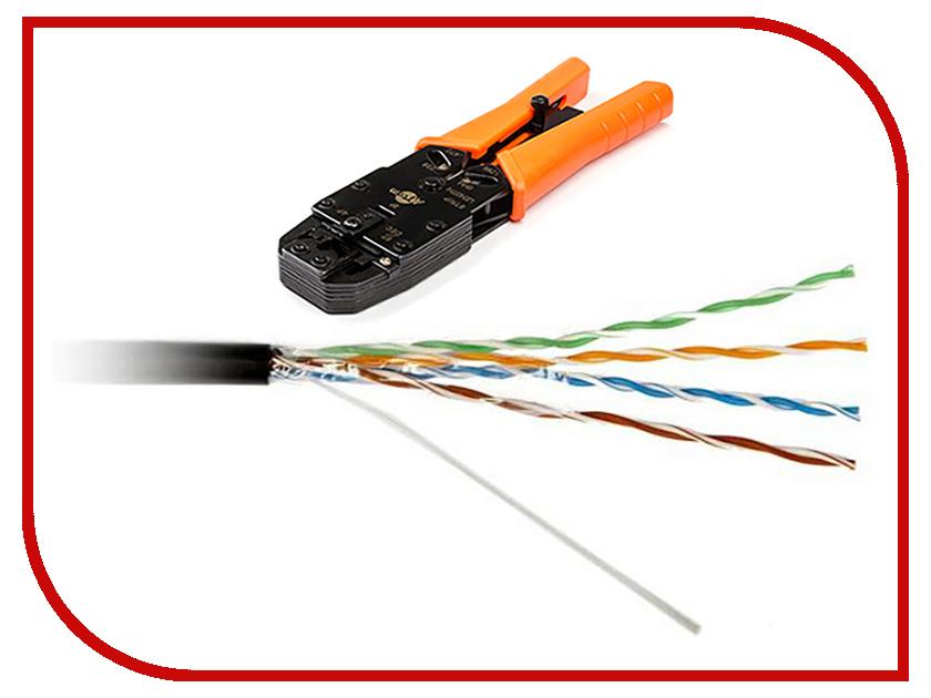 Сетевой кабель ATcom UTP cat.5e PVC+PVE 305m АТ6414 (2шт) + Клещи обжимные ATcom 2008R (RJ45, RJ11) AT3787 black pickup roller tire rm1 6414 rl1 1370 for hp p2035 p2055 p3005 p3015 rm1 6313 rm1 6323 rm1 6414 rm1 6467 rm1 9168 rm1 3763