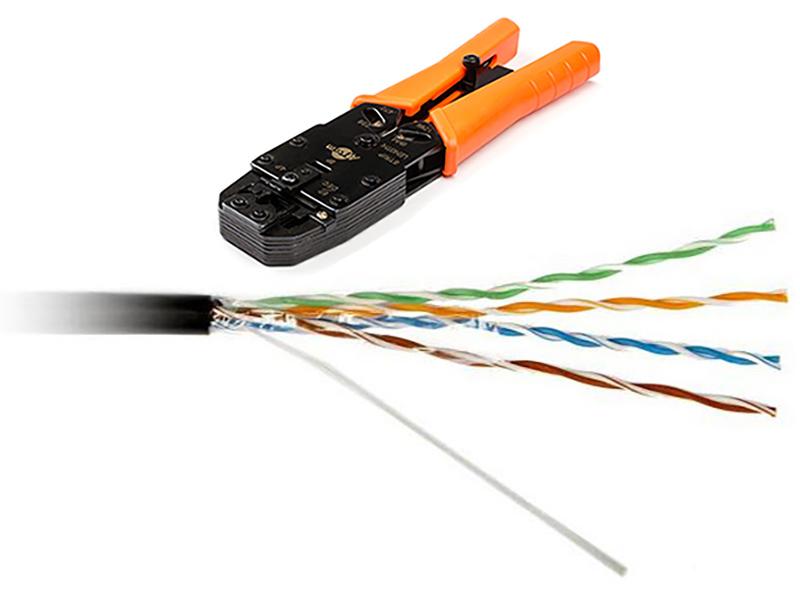 Сетевой кабель ATcom UTP cat.5e PVC+PVE 305m АТ6414 (2шт) + Клещи обжимные 2008R (RJ45, RJ11) AT3787