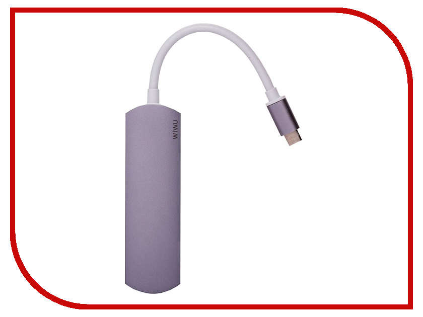 Хаб USB Activ Type-C WiWU T1 3 in 1 Grey 84743