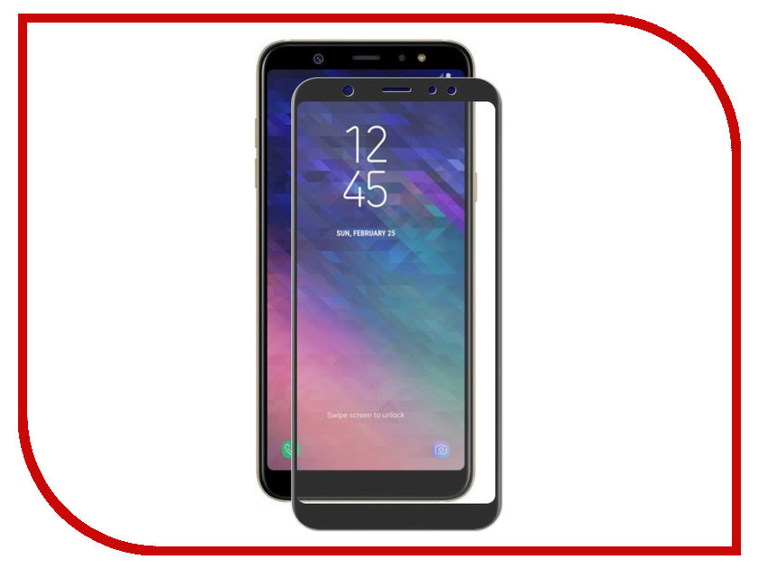 Аксессуар Защитное стекло для Samsung Galaxy A6 Plus 2018 Red Line Full Screen Tempered Glass Full Glue Black УТ000015577 temei protective pu leather tpu case stand w visual window for samsung galaxy note 3 white
