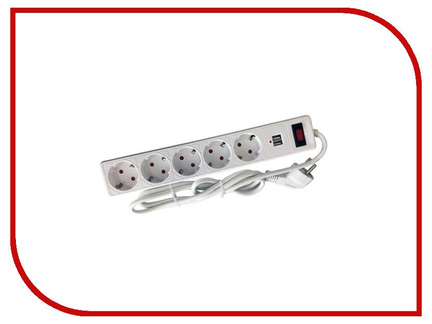 Сетевой фильтр SmartBuy 5 Sockets 3m White SBSP-30U-W