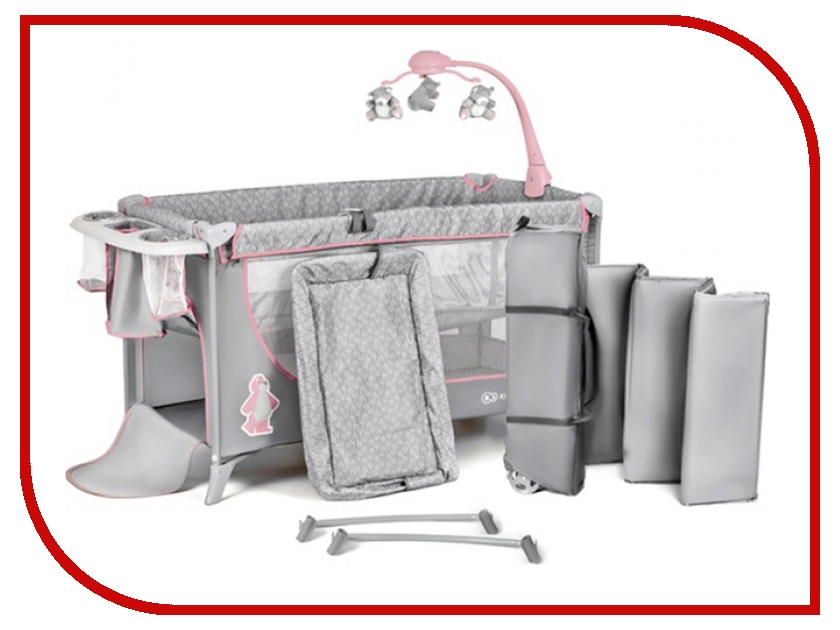Манеж-кровать Kinderkraft Joy Completo Grey-Pink