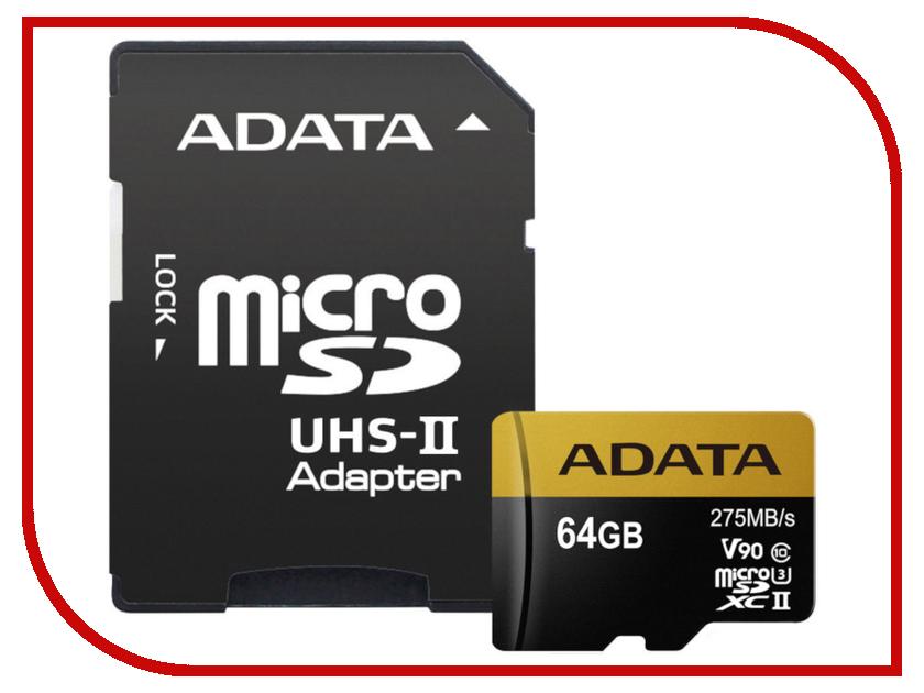 Карта памяти 64Gb - A-Data Premier - Micro Secure Digital HC Class 10 UHS-II U3 AUSDX64GUII3CL10-CA1 с переходником под SD