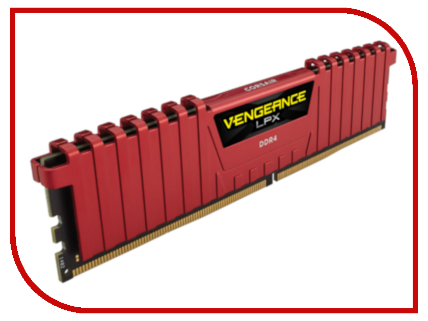 Модуль памяти Corsair Vengeance LPX Red DDR4 DIMM 2400MHz PC4-19200 CL16 - 4Gb CMK4GX4M1A2400C16R модуль памяти corsair vengeance lpx cmk4gx4m1a2400c16r ddr4 4гб 2400 dimm ret